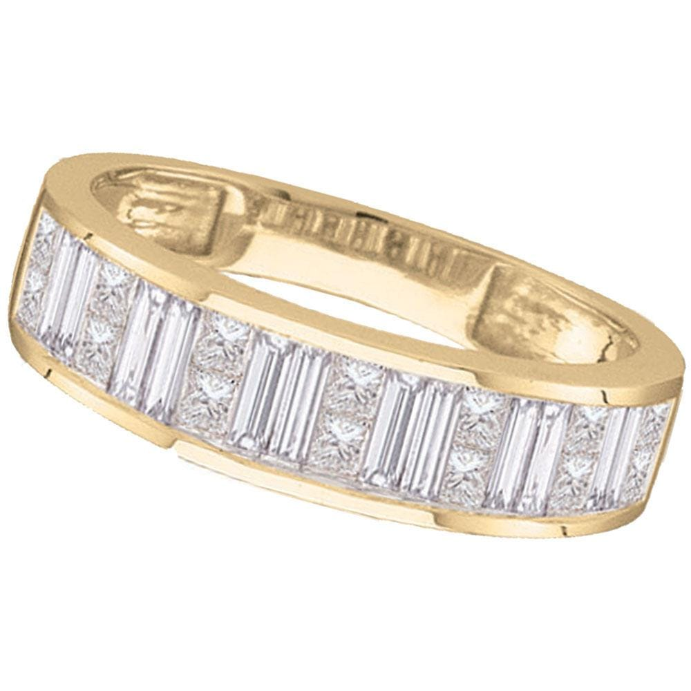 14kt Yellow Gold Womens Princess Baguette Channel-set Diamond Wedding Band 1/2 Cttw - Size 8