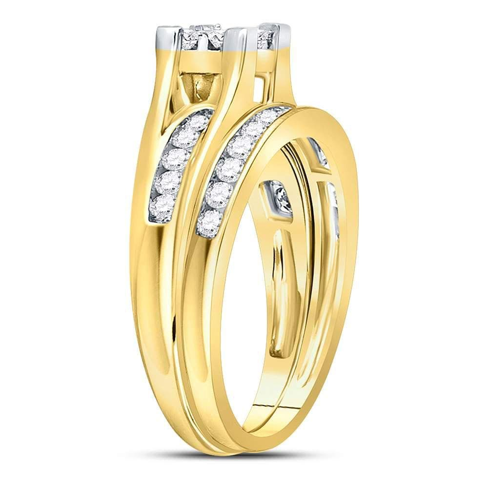 14kt Yellow Gold Womens Princess Diamond Bridal Wedding Engagement Ring Band Set 1.00 Cttw - Size 6