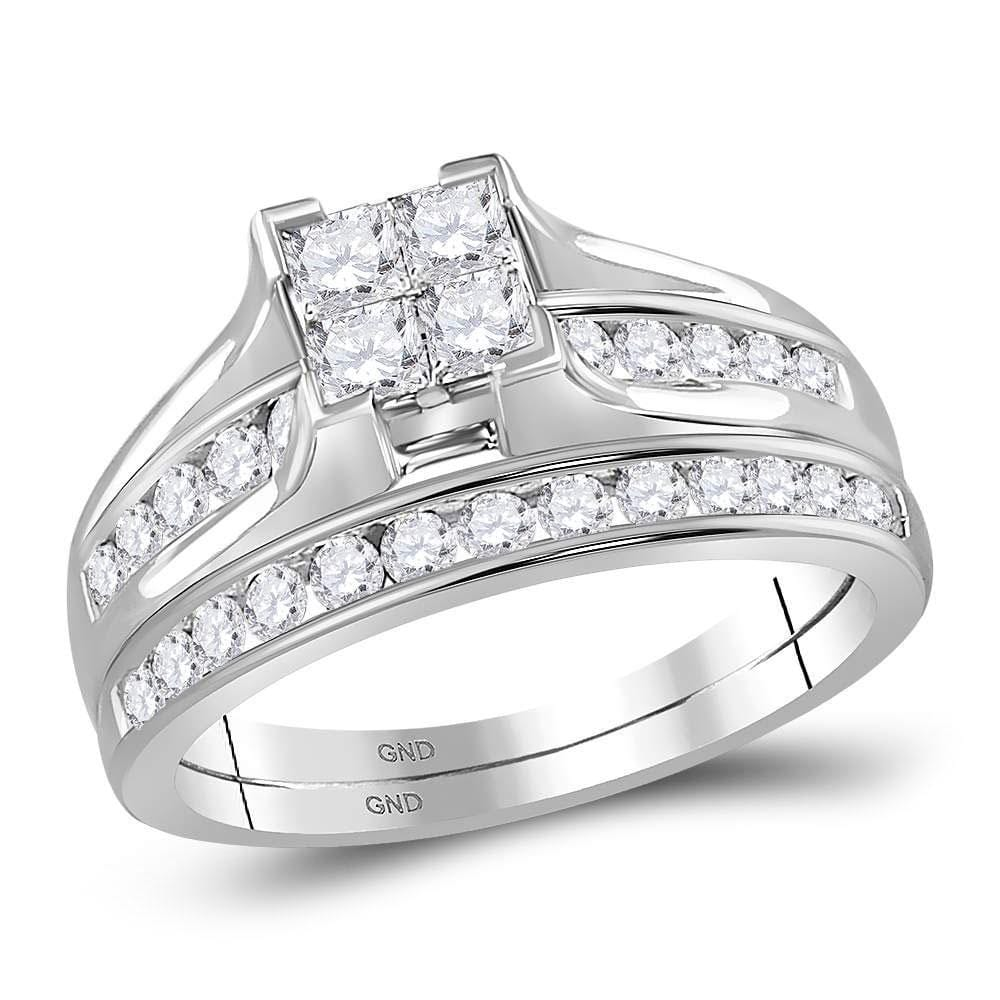 14kt White Gold Princess Diamond Bridal Wedding Ring Band Set 1 Cttw - Size