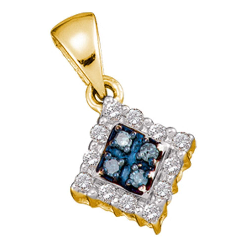 10kt Yellow Gold Womens Round Blue Color Enhanced Diamond Cluster Pendant & Earrings Set 3/8 Cttw