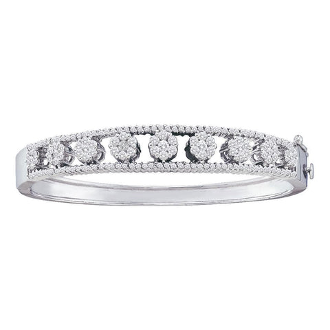 14kt White Gold Womens Round Diamond Bangle Flower Cluster Bracelet 2-3/8 Cttw