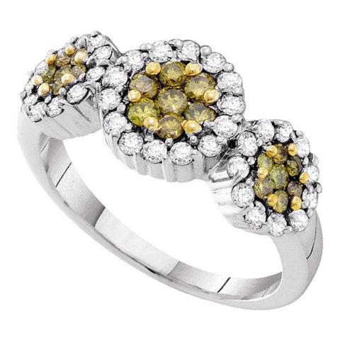14kt White Gold Womens Round Yellow Color Enhanced Diamond Triple Flower Cluster Ring 1.00 Cttw