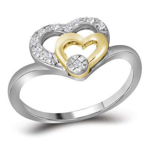 10kt Two-tone White Gold Womens Round Diamond Double Heart Ring 1/12 Cttw