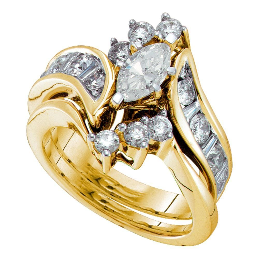 14kt Yellow Gold Womens Marquise Diamond Bridal Wedding Engagement Ring Band Set 2-1/20 Cttw (Certified)