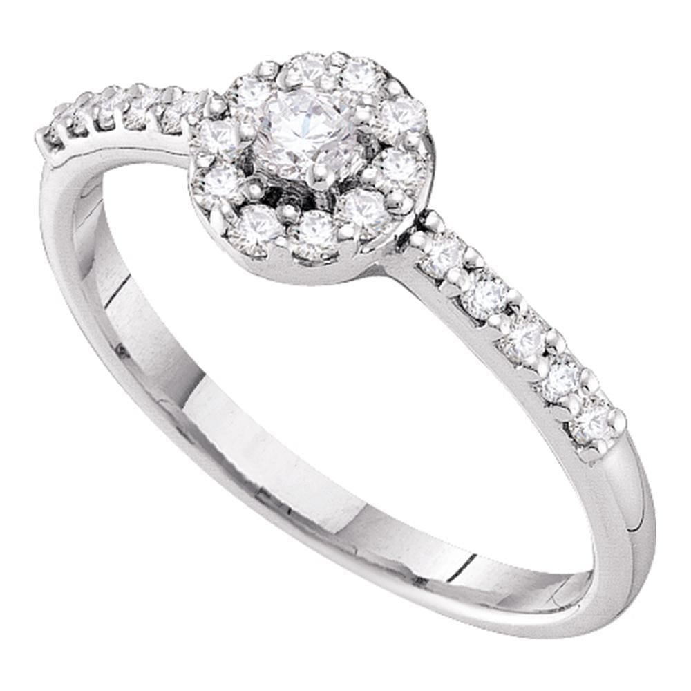14kt White Gold Womens Round Diamond Solitaire Halo Bridal Wedding Engagement Ring 1/3 Cttw