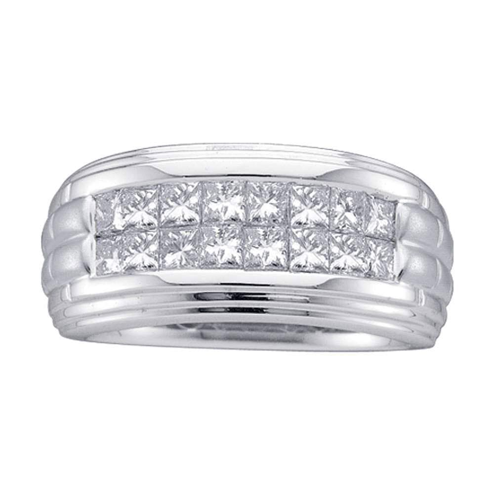 14kt White Gold Mens Princess Diamond Wedding Band Ring 1/2 Cttw
