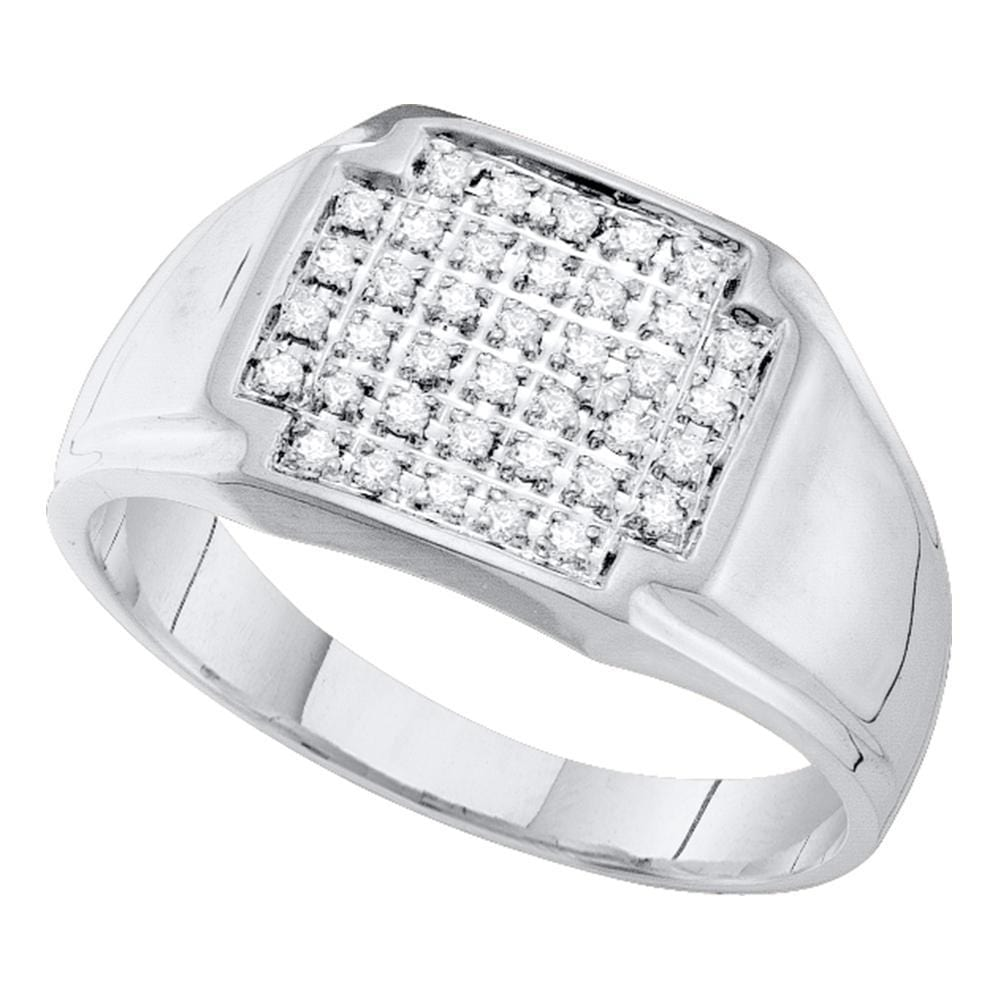 10kt White Gold Mens Round Pave-set Diamond Square Cluster Ring 1/4 Cttw
