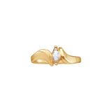 10kt Yellow Gold Womens Marquise Diamond Solitaire Promise Bridal Ring 1/20 Cttw