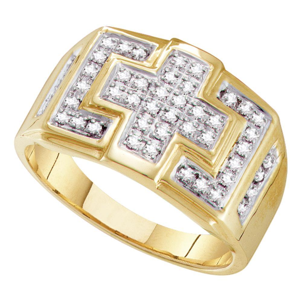 10kt Yellow Gold Mens Round Diamond Square Cross Cluster Ring 1/3 Cttw