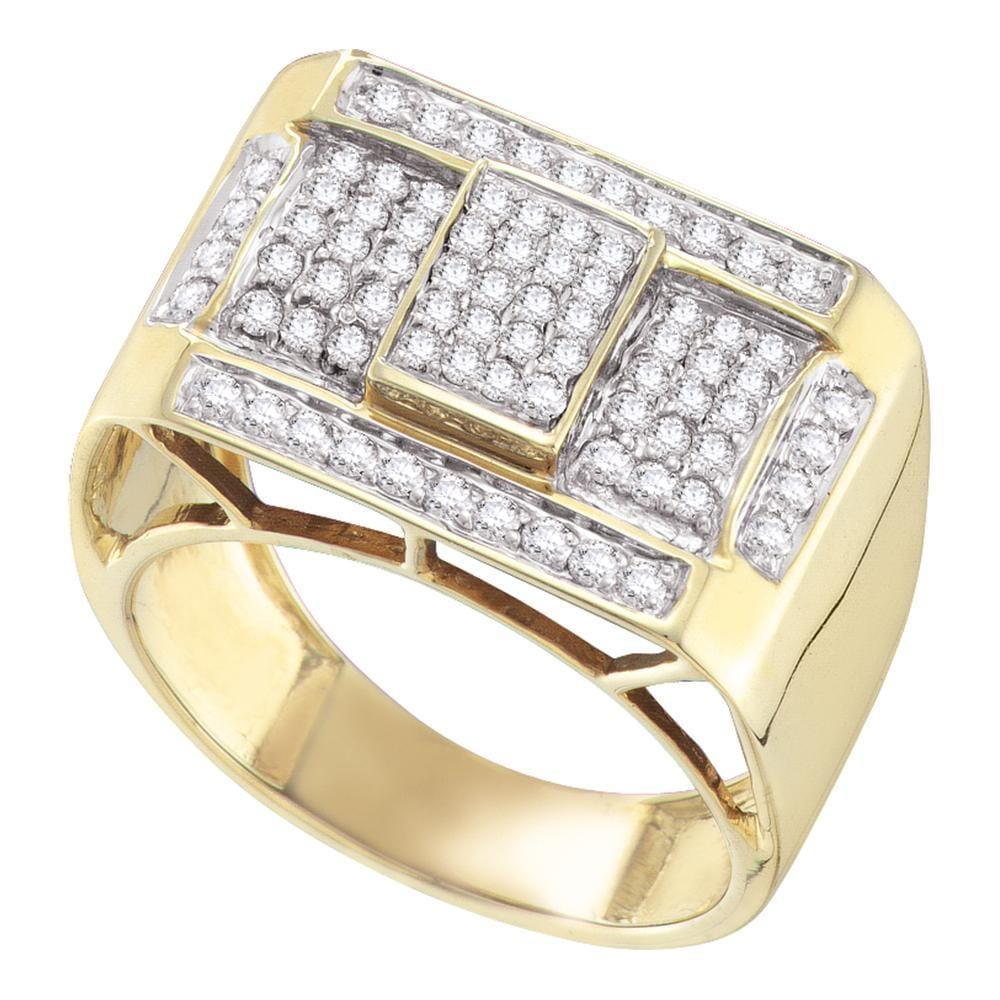 10kt Yellow Gold Mens Round Pave-set Diamond Rectangle Cluster Ring 1.00 Cttw