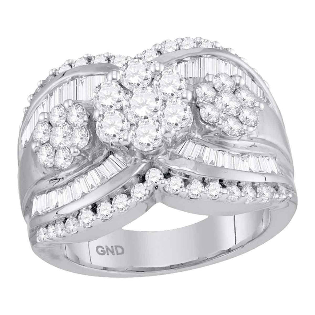 14kt White Gold Womens Round Diamond Triple Flower Cluster Bridal Wedding Engagement Ring 2.00 Cttw