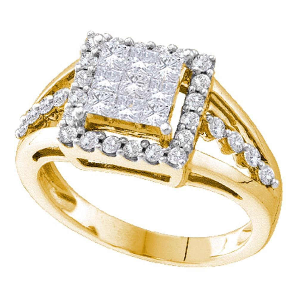 14kt Yellow Gold Womens Princess Diamond Square Frame Cluster Ring 1.00 Cttw