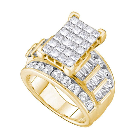 14kt Yellow Gold Womens Princess Diamond Cindys Dream Cluster Bridal Wedding Engagement Ring 4.00 Cttw