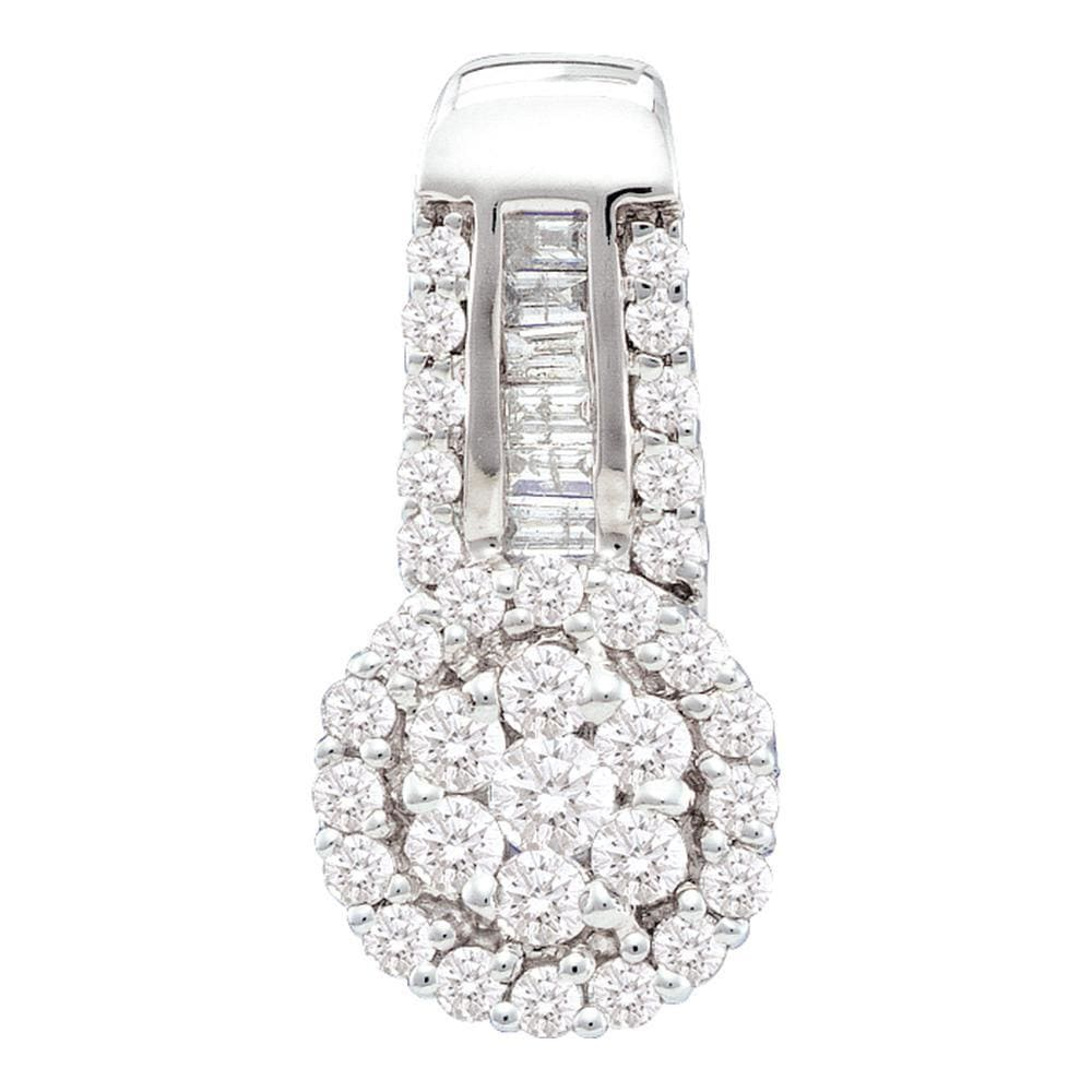 14kt White Gold Womens Round Diamond Cluster Pendant 1/2 Cttw