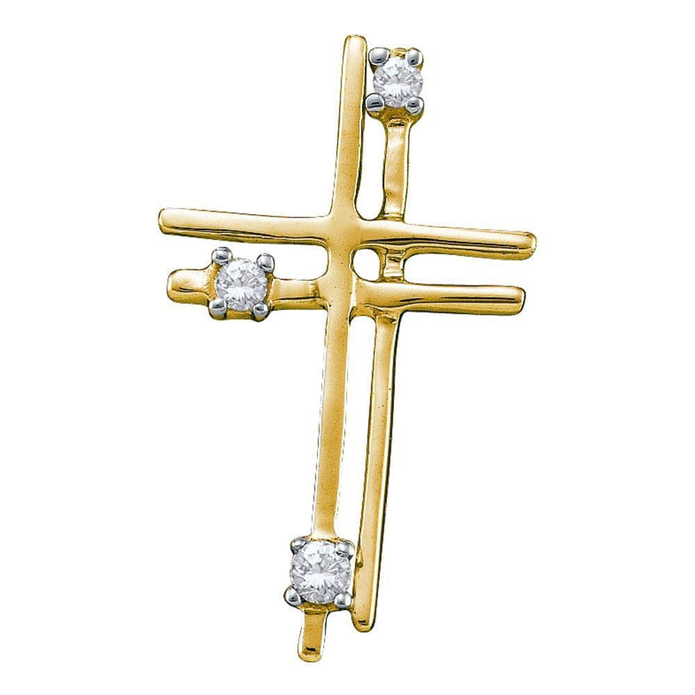 14kt Yellow Gold Womens Round Diamond Simple Layered Cross Pendant 1/20 Cttw