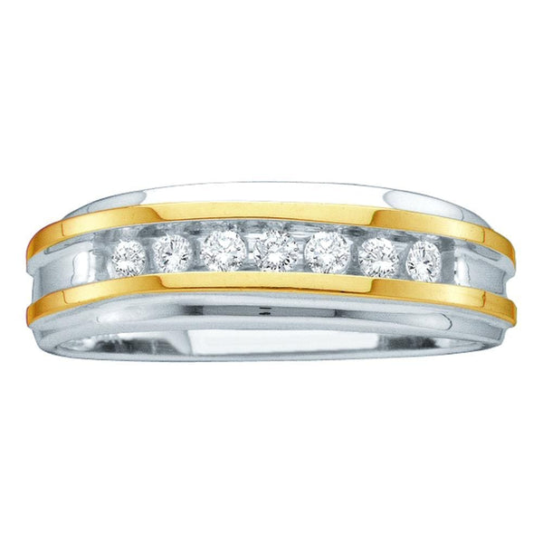 14kt White Two-tone Gold Mens Round Channel-set Diamond Wedding Band 1/4 Cttw