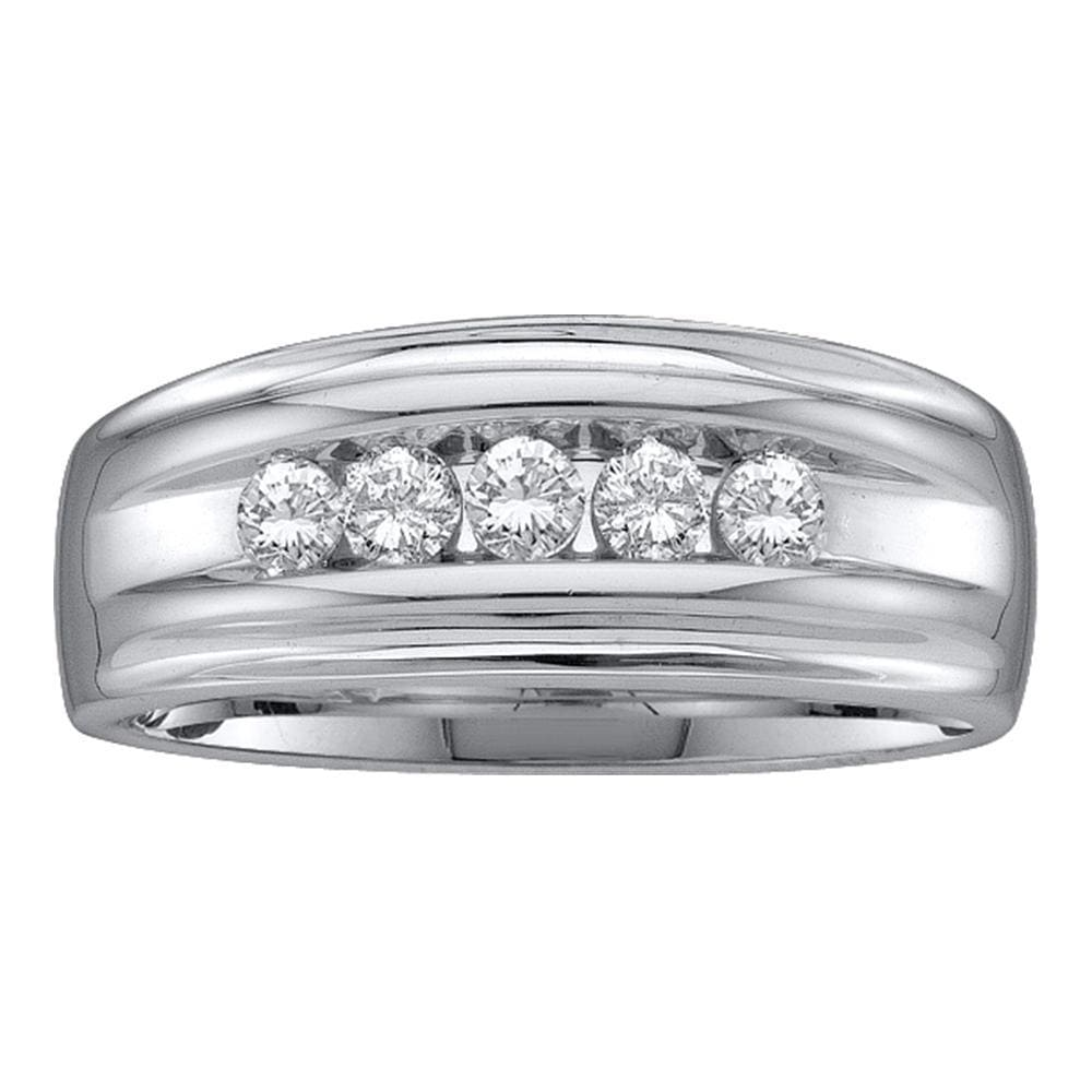 10kt White Gold Mens Round Channel-set Diamond Single Row Wedding Band 1/2 Cttw