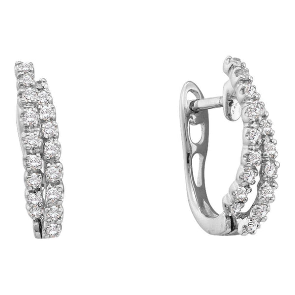 14kt White Gold Womens Round Diamond Double Row Hoop Earrings 1/4 Cttw