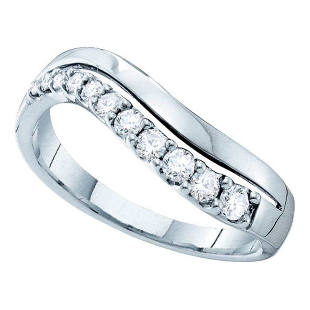 14kt White Gold Womens Round Diamond Curved Single Row Band 1/3 Cttw