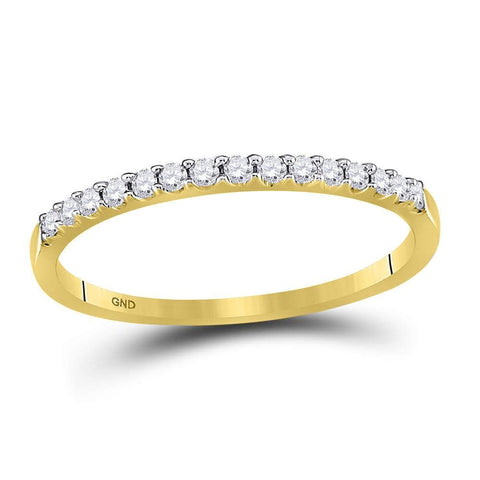 14kt Yellow Gold Womens Round Diamond Slender Stackable Wedding Band 1/6 Cttw