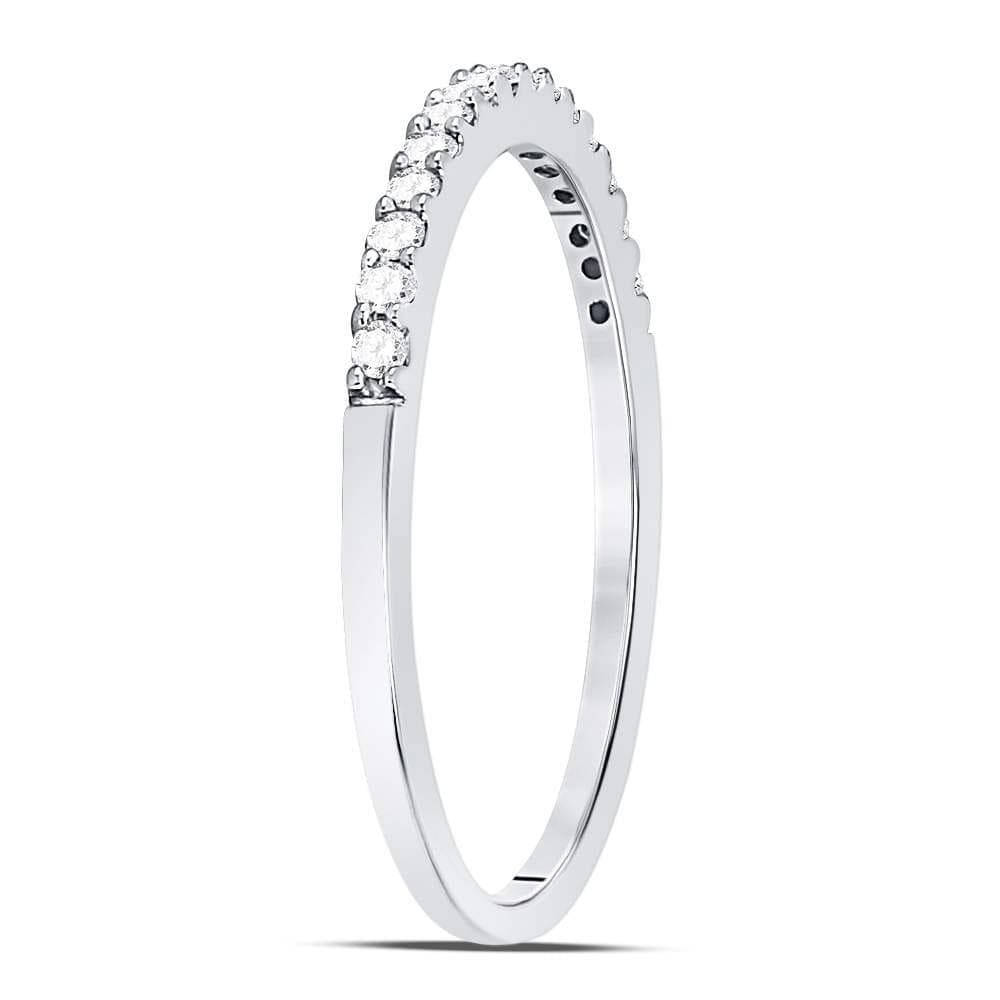 14kt White Gold Womens Round Diamond Slender Stackable Wedding Band 1/6 Cttw