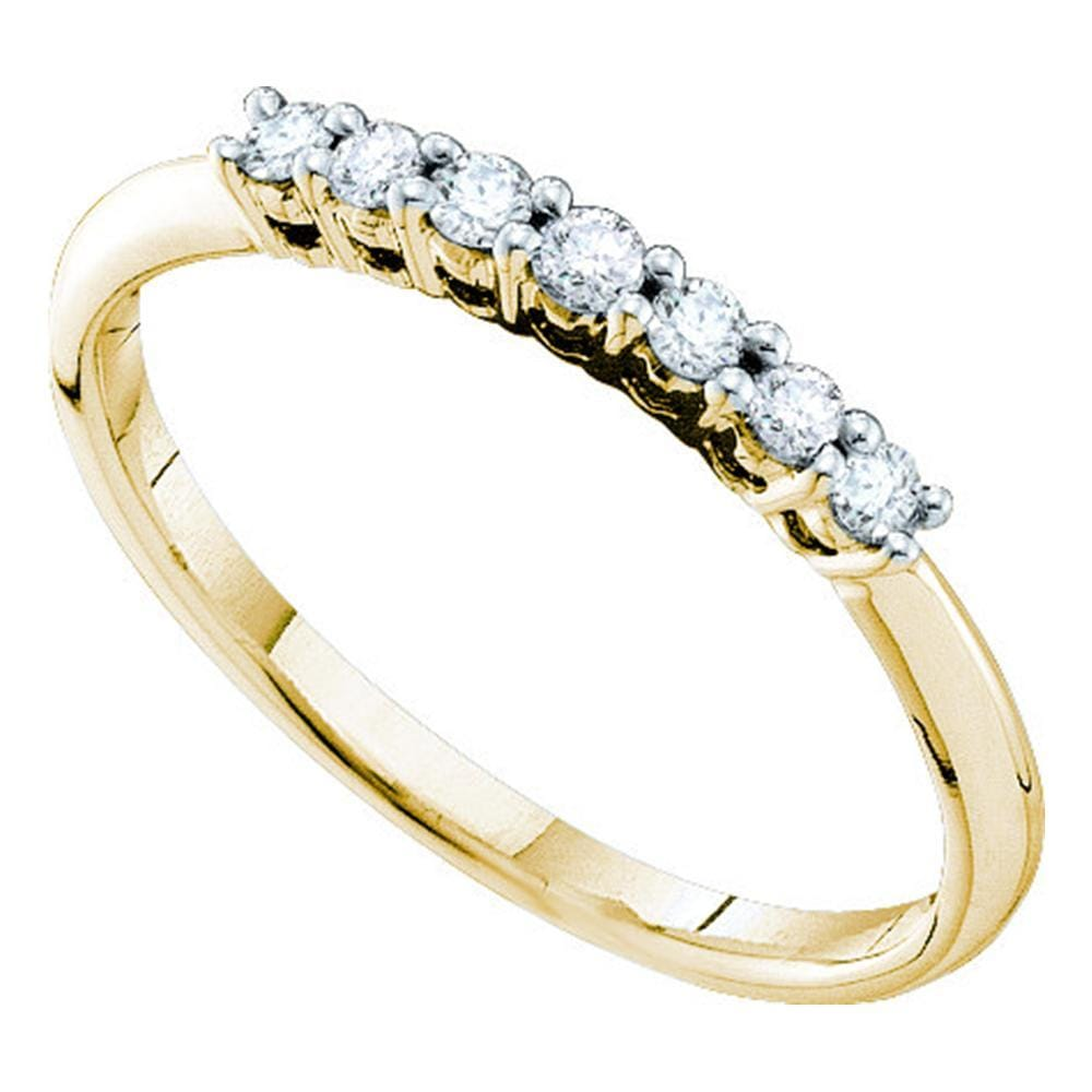 14kt Yellow Gold Womens Round Pave-set Diamond Slender Wedding Band 1/5 Cttw