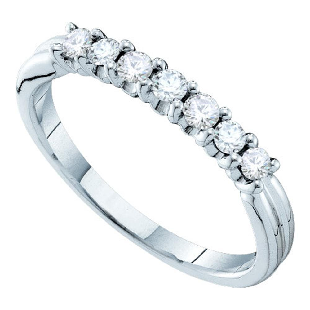 14kt White Gold Womens Round Pave-set Diamond Single Row Wedding Band 1/3 Cttw
