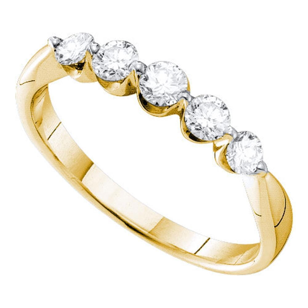 14kt Yellow Gold Womens Round Diamond 5-stone Fashion Band Ring 1/2 Cttw