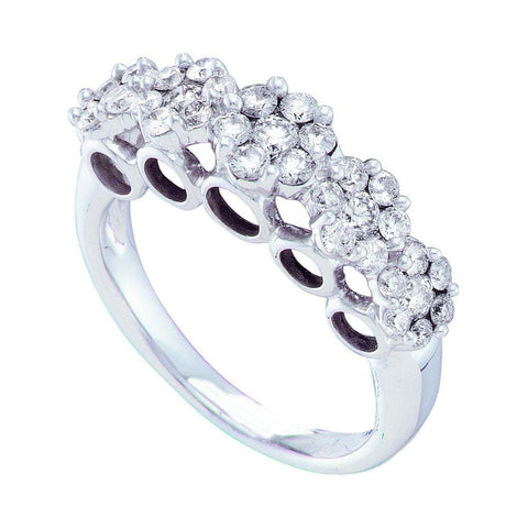 14kt White Gold Womens Round Diamond Multi Flower Cluster Ring 1-1/2 Cttw