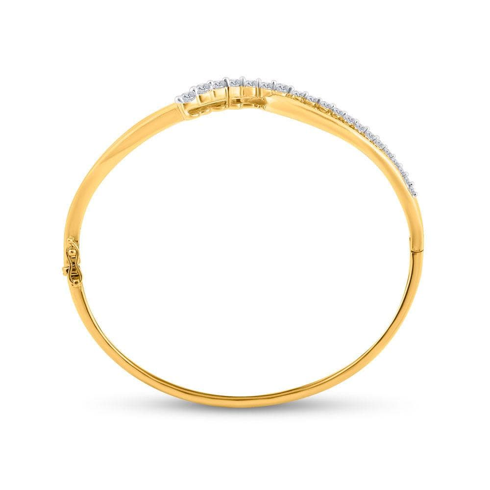 14kt Yellow Gold Womens Round Diamond Graduated Journey Bangle Bracelet 1 Cttw