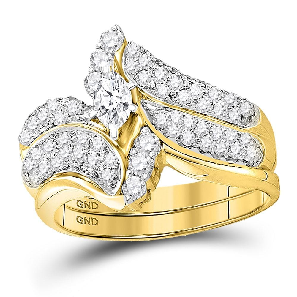 14kt Yellow Gold Marquise Diamond Bridal Wedding Ring Band Set 1 Cttw