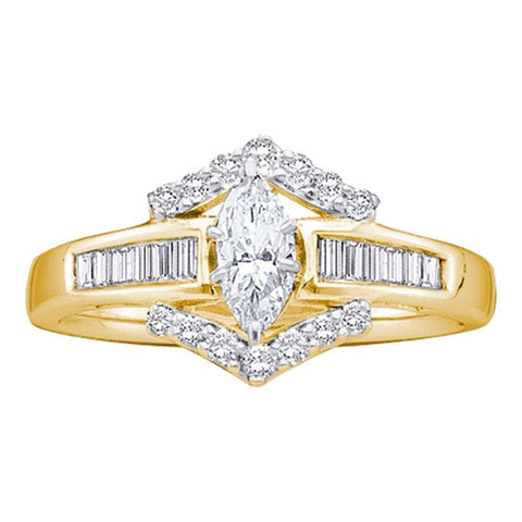 14k Yellow Gold Marquise Diamond Solitaire Bridal Wedding Engagement Anniversary Ring 3/4 Cttw