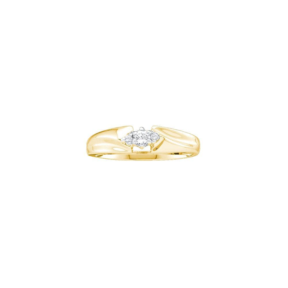 14kt Yellow Gold Womens Round Diamond 3-stone Promise Bridal Ring 1/10 Cttw