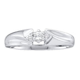 10kt White Gold Womens Round Diamond 3-stone Promise Bridal Ring 1/10 Cttw