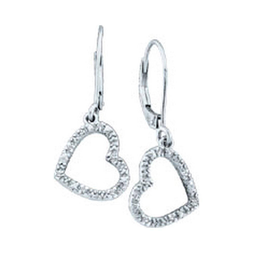 10kt White Gold Womens Round Diamond Heart Love Dangle Earrings 1/20 Cttw