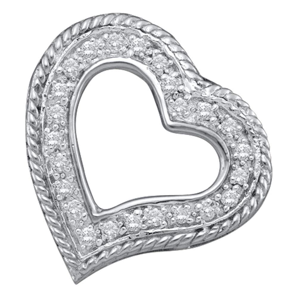 10kt White Gold Womens Round Diamond Small Heart Love Pendant 1/5 Cttw