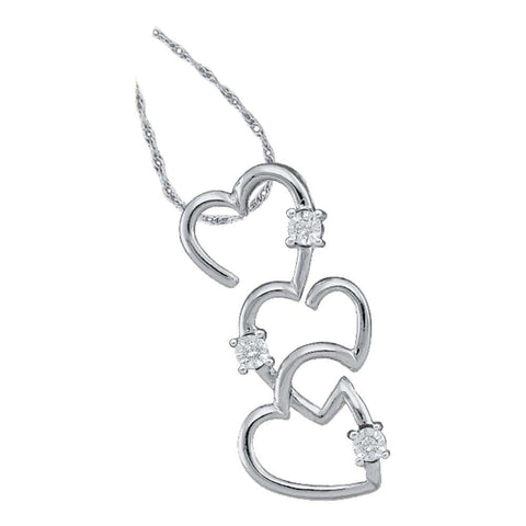 10kt White Gold Womens Round Diamond Triple Trinity Heart Pendant .03 Cttw