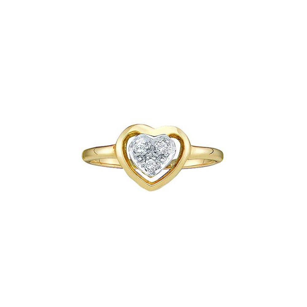 14kt Yellow Gold Womens Round Diamond Simple Heart Cluster Ring 1/20 Cttw