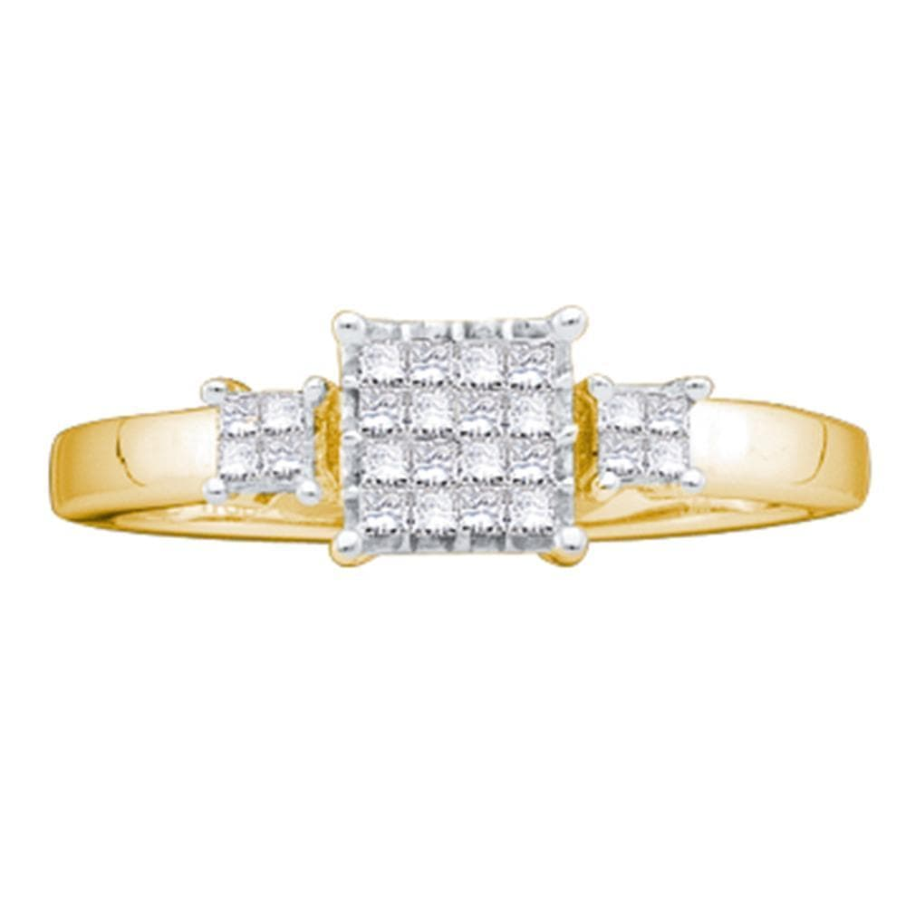 14kt Yellow Gold Womens Princess Diamond Triple Cluster Bridal Wedding Engagement Ring 1/5 Cttw