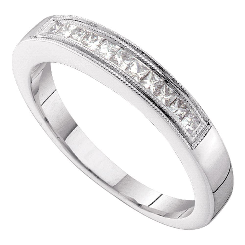 14kt White Gold Womens Princess Diamond 3mm Wedding Band Ring 1/4 Cttw