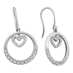 14kt White Gold Womens Round Diamond Circle Heart Dangle Wire Earrings 1/4 Cttw