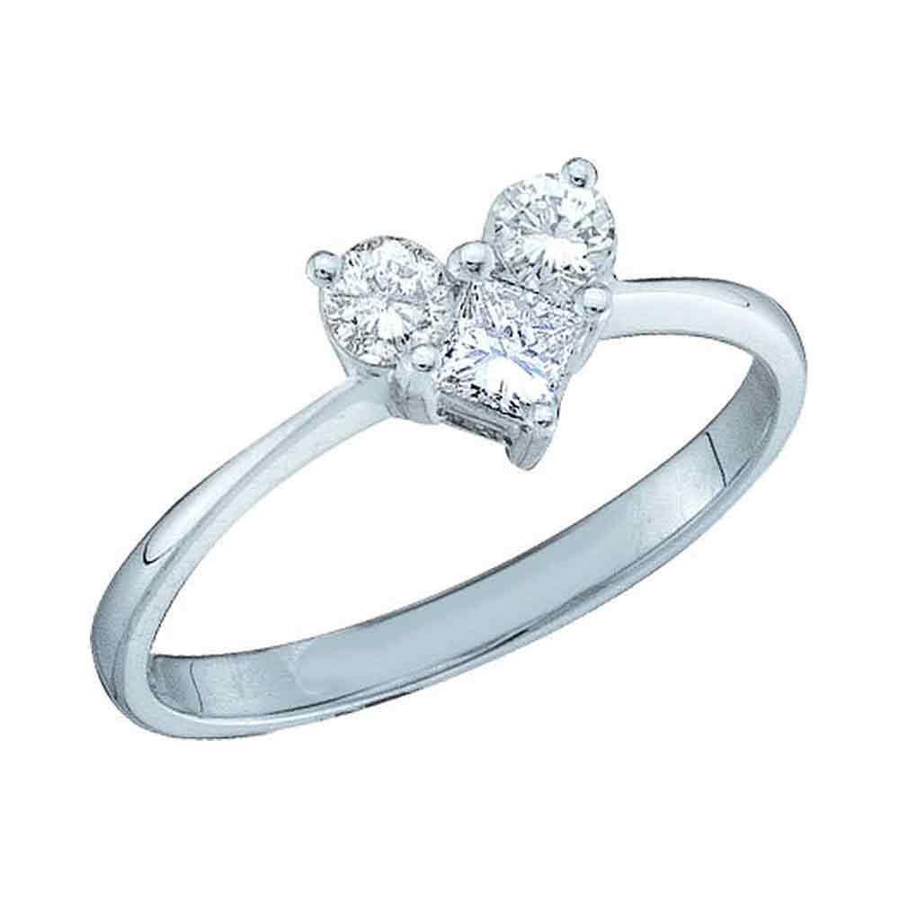 14kt White Gold Womens Princess Diamond Heart Bridal Wedding Engagement Ring 1/2 Cttw