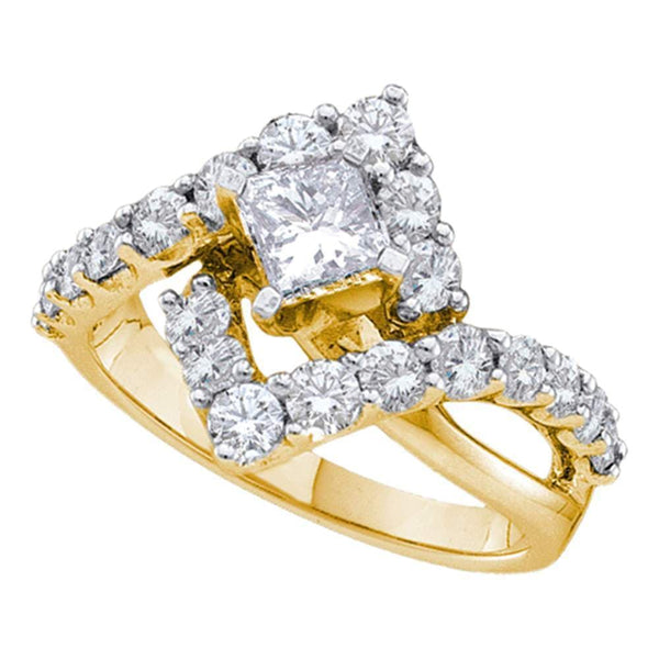 14kt Yellow Gold Womens Princess Diamond Solitaire Halo Bridal Engagement Ring 2.00 Cttw