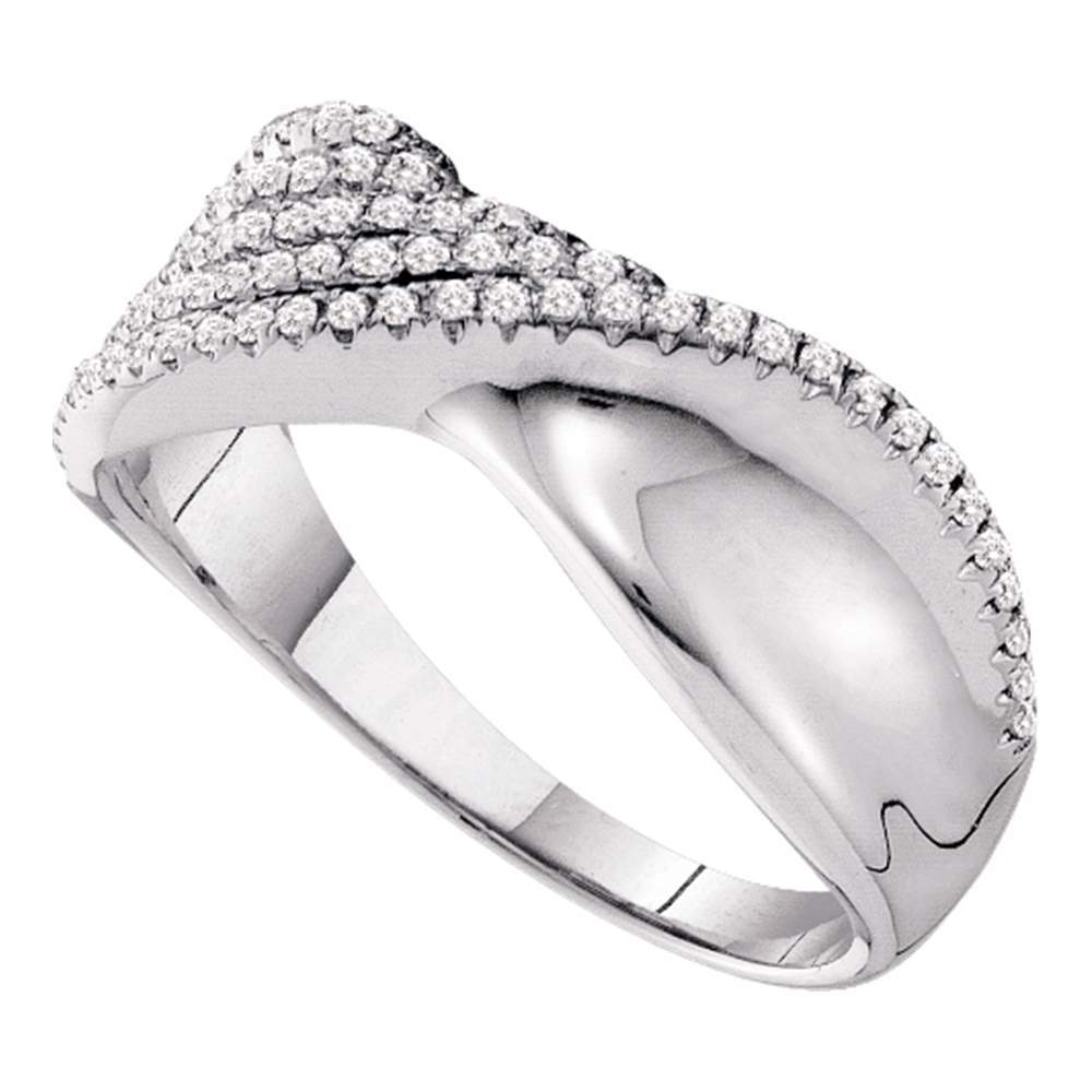 14kt White Gold Womens Round Diamond Fold Twist Band Ring 3/8 Cttw