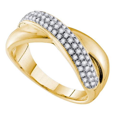 14kt Yellow Gold Womens Round Pave-set Diamond Crossover Band Ring 3/8 Cttw