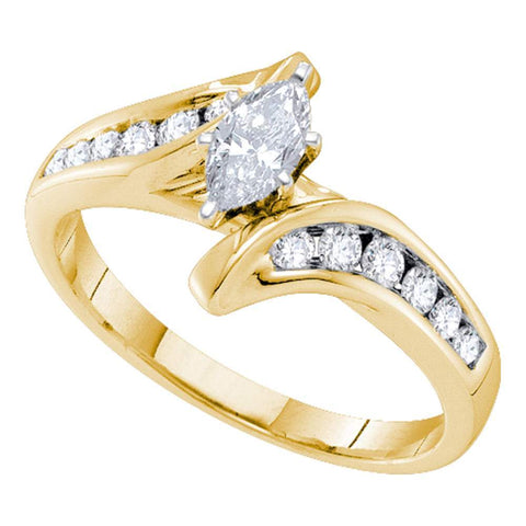 14kt Yellow Gold Womens Marquise Diamond Solitaire Bridal Wedding Engagement Ring 5/8 Cttw