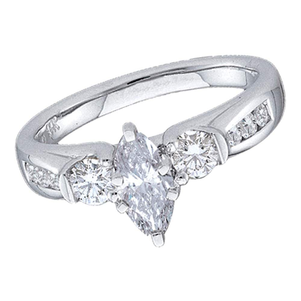 14kt White Gold Womens Marquise Diamond 3-stone Bridal Wedding Engagement Ring 1.00 Cttw