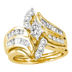14kt Yellow Gold Womens Marquise Diamond Certified Bridal Wedding Engagement Ring Band Set 1-1/2 Cttw