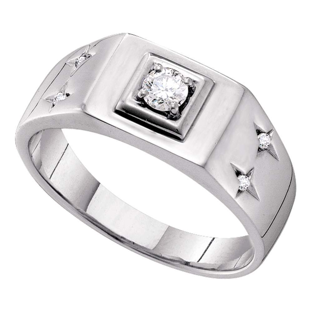 14kt White Gold Mens Round Diamond Solitaire Accent Ring 1/4 Cttw