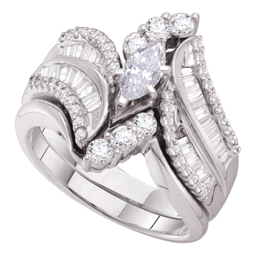 14kt White Gold Womens Marquise Diamond Bridal Wedding Engagement Ring Band Set 1-1/2 Cttw